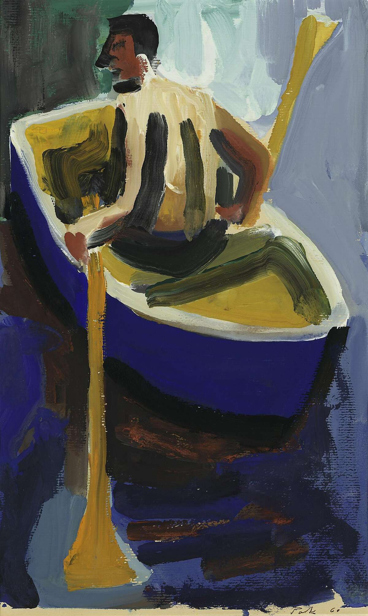 """David Park's 1960 gouache on paper work """"Man in Rowboat"""" is on display in """"David Park: Personal Perspectives"""" through May 22 at Richmond Art Center."""
