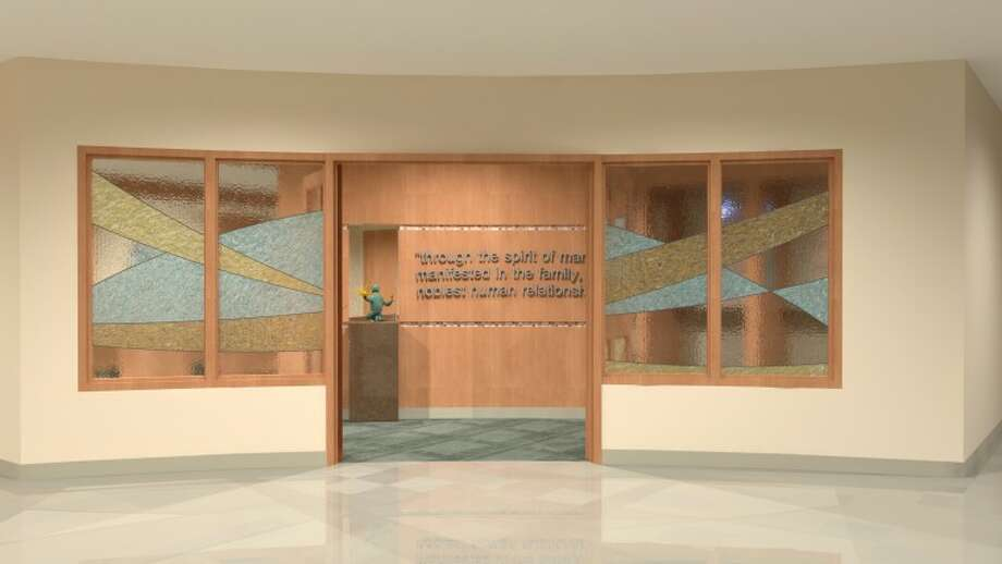 This rendering shows the stained glass wall and doors of the Spiritual Care Center that are being designed by glass artist Elizabeth Kolenda.