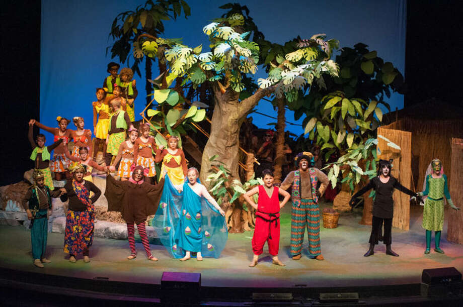 "STEVEN SIMPKINS/ Daily News Sam Gardner as King Kong, Madison Griffin as Queen Kookie, Olivia Ortiz as Mang, Amy Folkenrot as Mor, Anthony Rock as Mowgli, Charlie Hunkins as Baloo, Claire Patterson as Bagheera and Abigail Hnizda as Kaa in the Midland Center for the Arts Peanut Gallery production of ""The Jungle Book."""