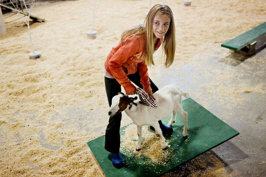 Emma Ivan, 11, of Midland, balances on an improvised teeter-totter with a goat during the goat obstacle course on Friday at the Midland County Fair. Ivan borrowed the goat, Snickers, from a friend to do the course. Photo: NEIL BLAKE | Nblake@mdn.net