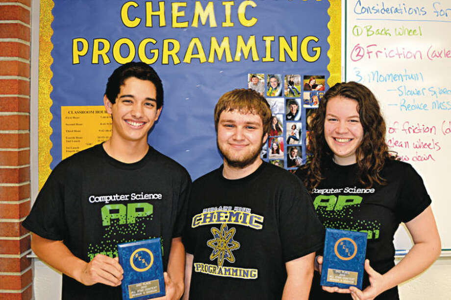 Photo providedMidland High students Kellen Bixler, Emily Marinan and Joh Reeves took second place in the three-person senior division at the American Computer Science League All-Star Contest.