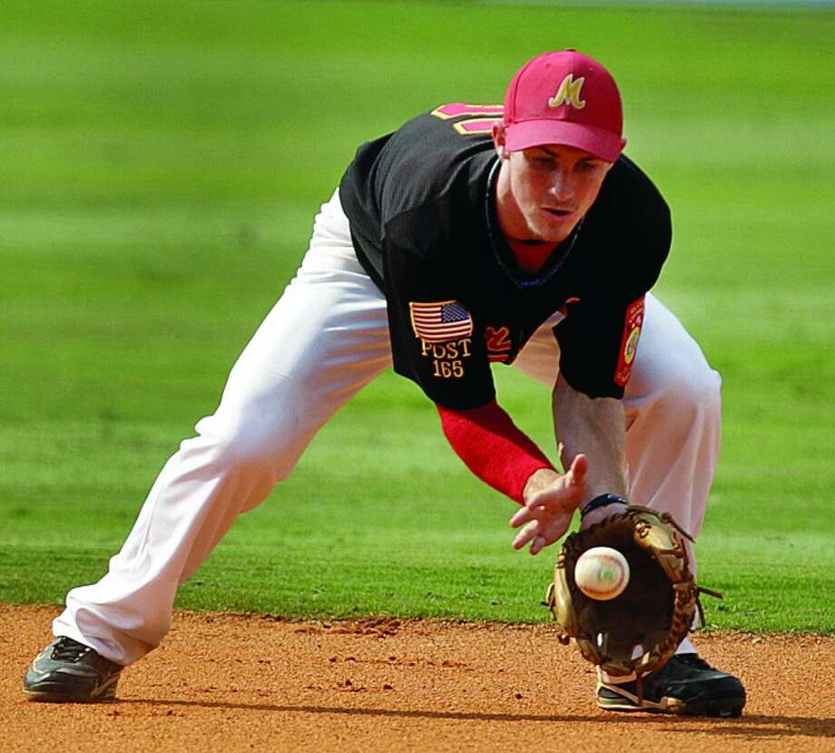 Photo by Ben Goff | The Gaston GazetteBerryhill second baseman Alex Albrecht fields a ground ball during the game against Eden Prairie, Minn., in the American Legion Baseball World Series at Keeter Stadium in Shelby, N.C., on Friday.