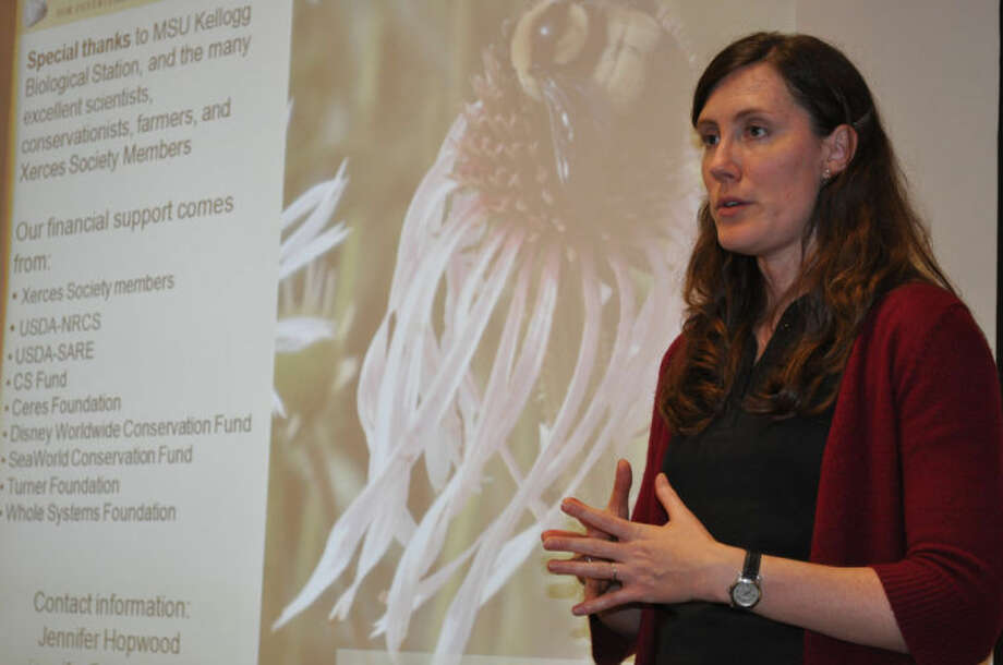 Valerie Puetz | for the Daily NewsJennifer Hopwood of the Xerces Society for Invertebrate Conservation discusses the importance of insect pollinators at the Chippewa Nature Center.