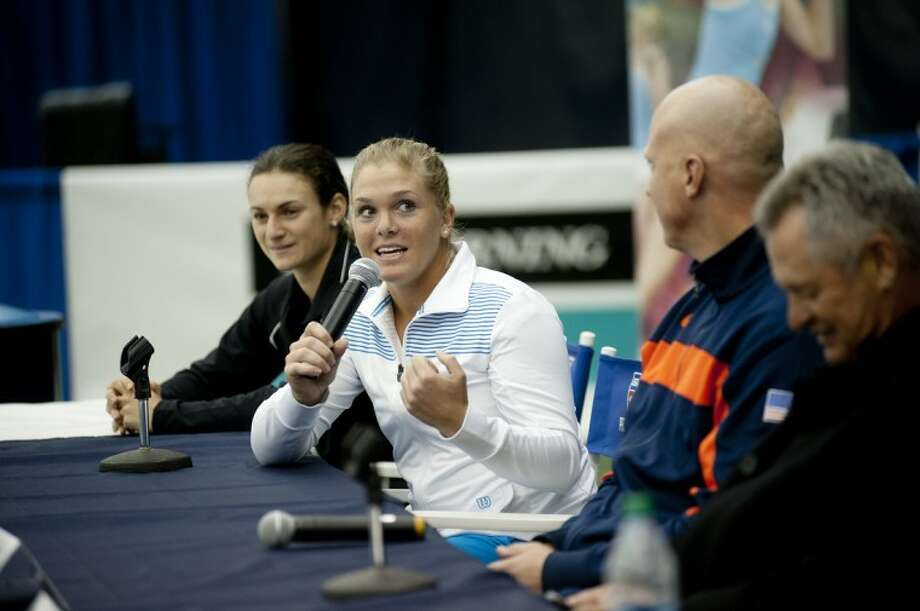 NEIL BLAKE   nblake@mdn.netMelanie Oudin fields questions during a press conference on Monday at the Midland Community Tennis Center. Photo: Neil Blake/Midland  Daily News