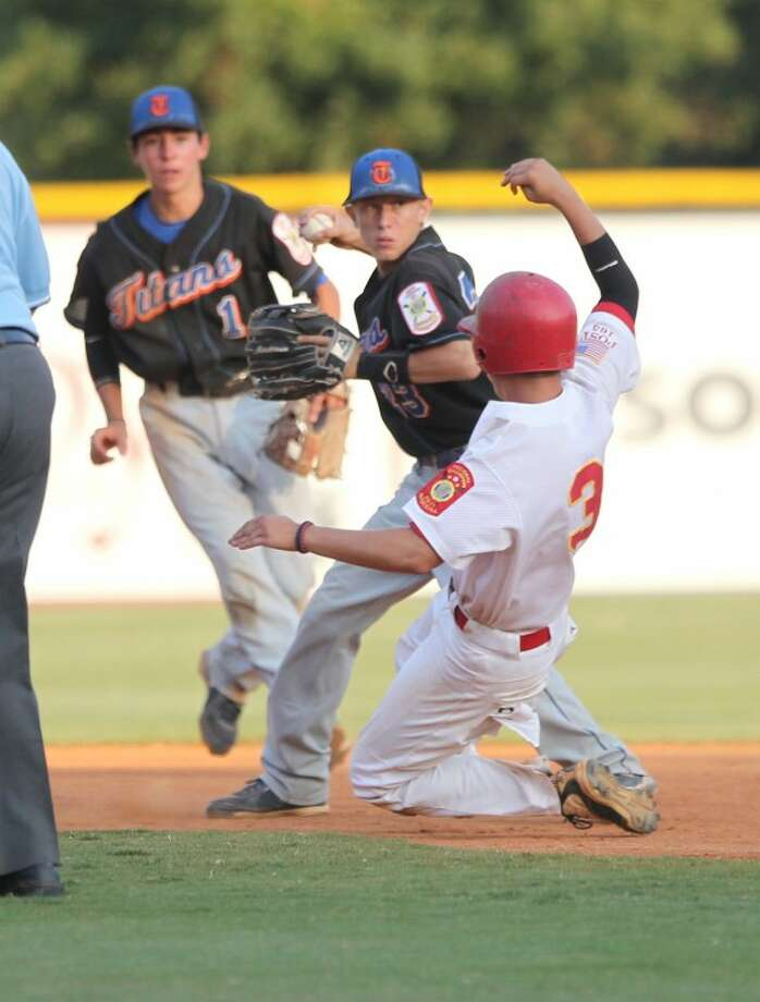 Jeff Melton/FOR THE DAILY NEWSBerryhill's Jordan Herman is forced out at second base during Monday's game against Las Vegas in the American Legion World Series.