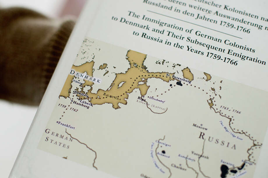 A map on the cover of Jacob Eichhorn's book shows the path Germans colonists took to Denmark and Russia. Photo: Nick King/Midland  Daily News / Midland Daily News