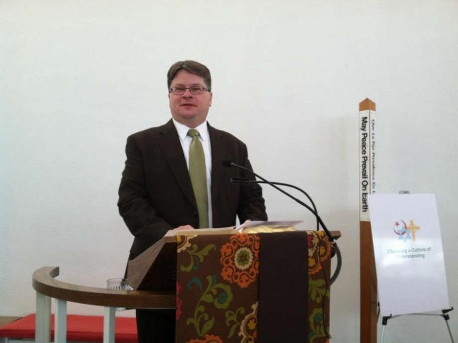 "Photo providedThe Rev. Roger Pancost speaks during a special service at the United Church of Christ Sunday as part of the ""Choosing a Culture of Understanding"" series."