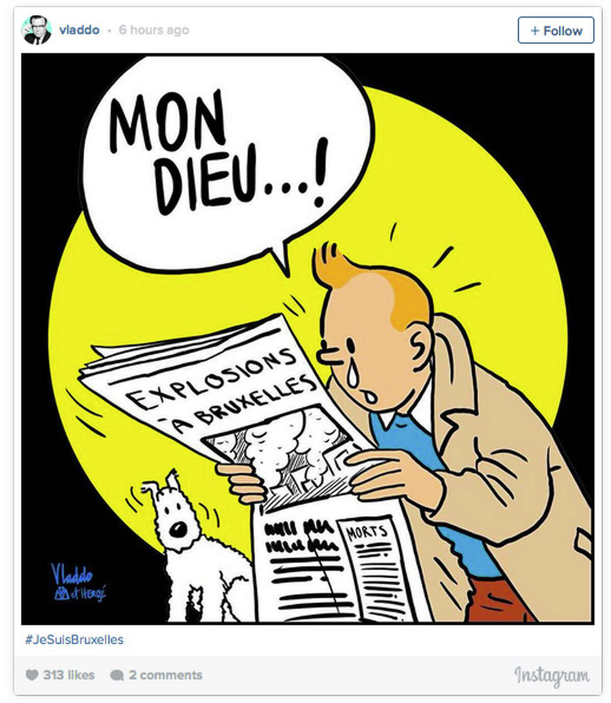 A tearful, beloved cartoon adventurer, Tintin, quickly emerged as a symbol of solidarity in the chaotic aftermath of the Brussels terror attacks,