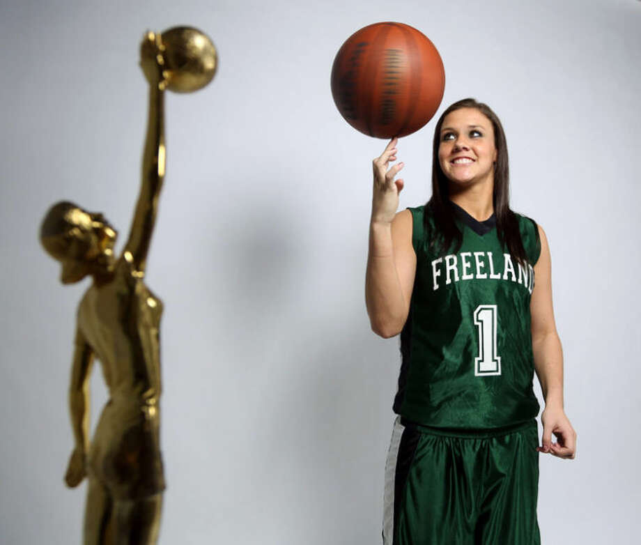 Diane Weiss, Detroit Free Press | AP PhotoFreeland's Tori Jankoska poses for photographs in the Detroit Free Press studio after being named the 32nd recipient of the Miss Basketball award for Michigan on Monday. Photo: Diane Weiss