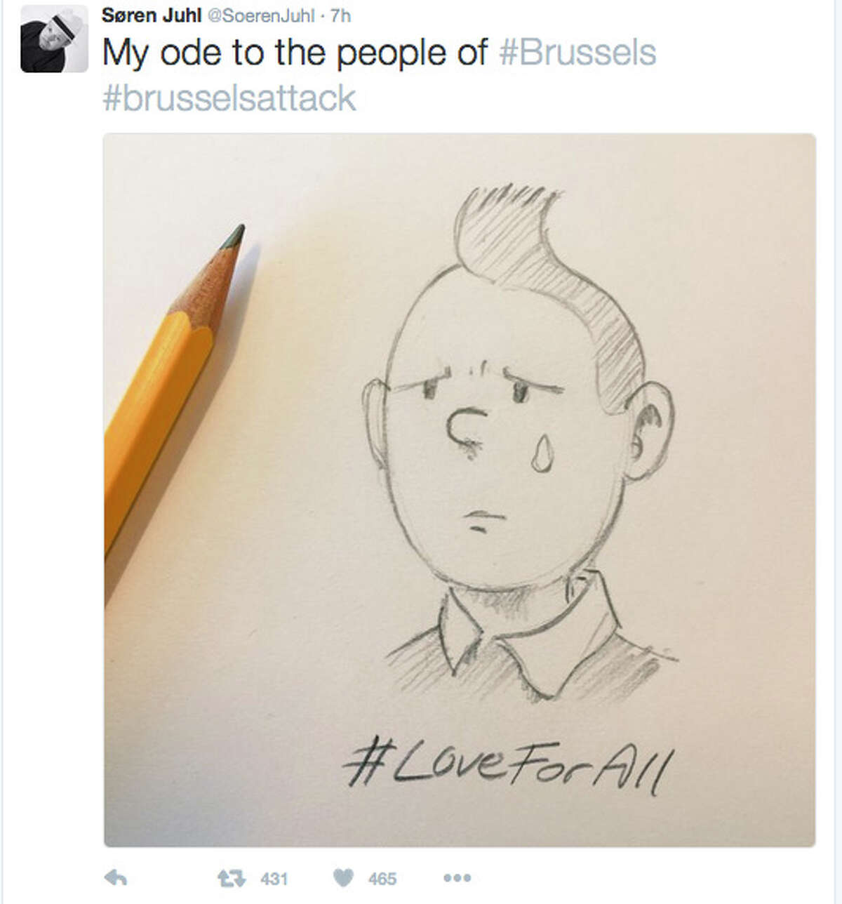 A tearful, beloved cartoon adventurer, Tintin, quickly emerged as a symbol of solidarity in the chaotic aftermath of the Brussels terror attacks.
