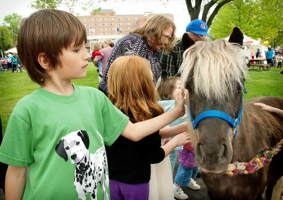 STEVEN SIMPKINS/Daily NewsNoah Roberts pets Pop Tart, a miniature horse at the 2012 Parade Your Pet Pageant by the Tridge in downtown Midland.
