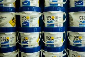 NEIL BLAKE | nblake@mdn.net Chlorinating tablets line the wall at A-1 Outdoor Products.