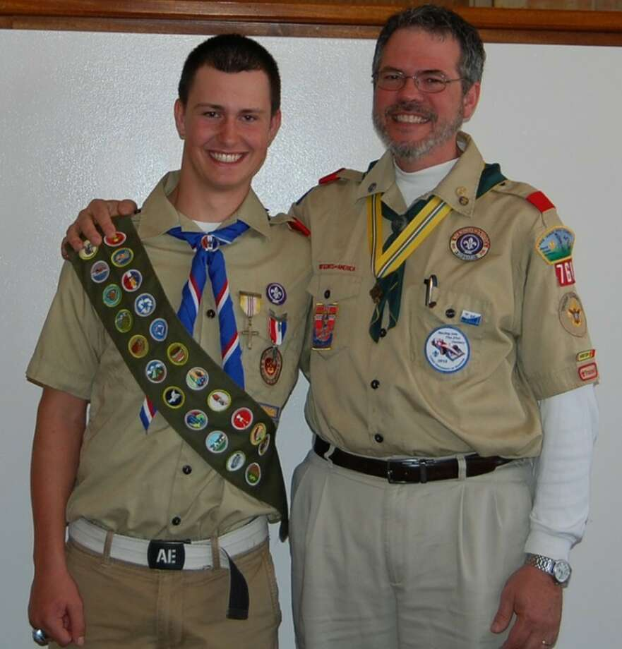 Photo providedAaron Herbert is shown with one of his Scout leaders, Bernie Rabine.