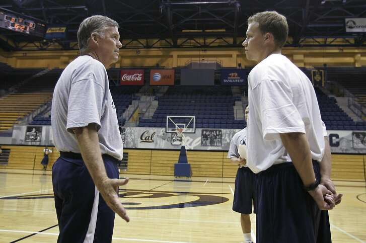 FILE - In this Sept. 25, 2008, file photo, then-California head coach Mike Montgomery, left, talks with his son, John Montgomery, right, during basketball practice in Berkeley, Calif. When California's season ended, John Montgomery reached out to a handful of his former players and wished them a deep, special NCAA Tournament run. That was before the draw came out. Montgomery is now an assistant coach at Hawaii, and will face the Golden Bears in a first-round matchup on Friday. (AP Photo/Paul Sakuma, File)