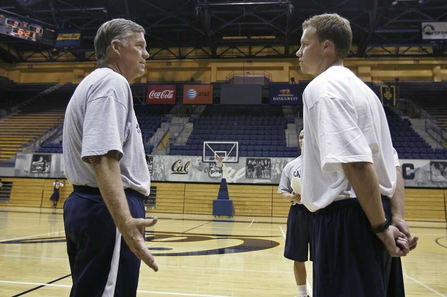 FILE - In this Sept. 25, 2008, file photo, then-California head coach Mike Montgomery, left, talks with his son, John Montgomery, right, during basketball practice in Berkeley, Calif. When California's season ended, John Montgomery reached out to a handful of his former players and wished them a deep, special NCAA Tournament run. That was before the draw came out. Montgomery is now an assistant coach at Hawaii, and will face the Golden Bears in a first-round matchup on Friday. (AP Photo/Paul Sakuma, File) Photo: Paul Sakuma, AP