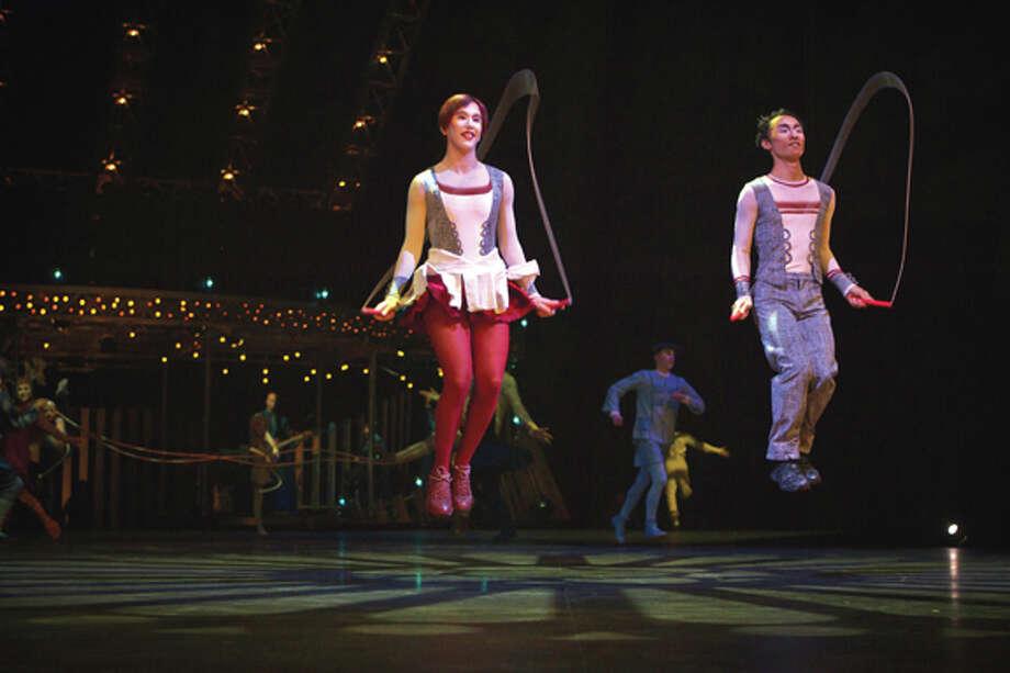 The rope act features soloist Adrienn Banhegyi of Hungary, pictured at left. Photo: Matt Beard / Matt Beard