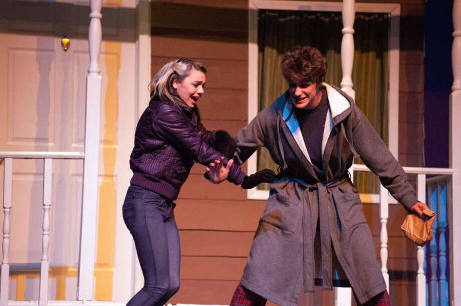 "STEVEN SIMPKINS/ Daily NewsKostindi Stephenson as Glory and Jared Lane as East in the Midland High School Drama production of ""Almost, Maine."""
