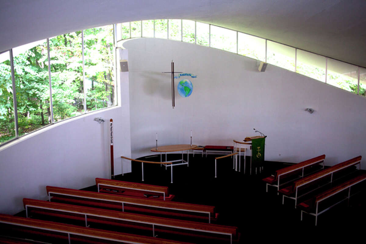 Windows wrap around the sanctuary at United Church of Christ in Midland.