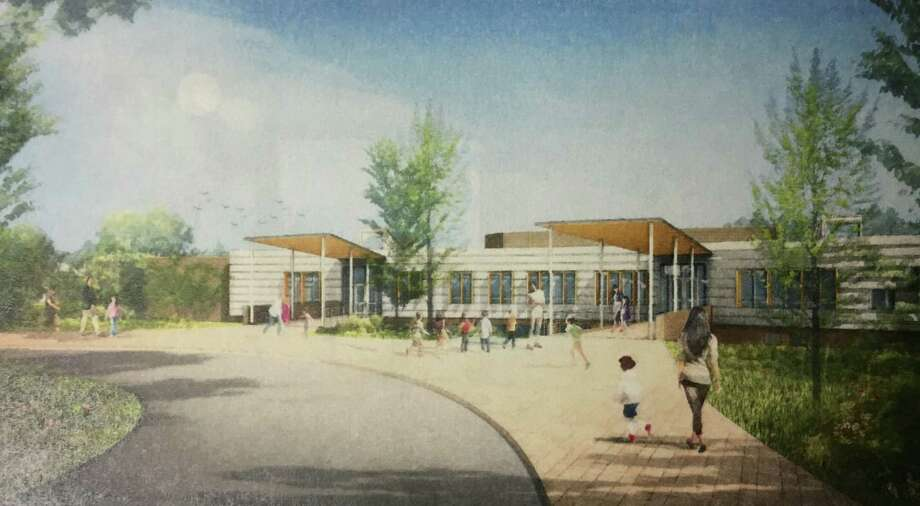 """The Option 3 entry view rendering for New Lebanon School revealed by Tai Soo Kim Partners Architects at the Board of Education in Greenwich, Conn. Wednesday, Jan. 13, 2016.  In December the building committee asked the architects for more options, so on Wednesday two new plans, touted """"Option 3"""" and """"Option 4"""" were unveiled before the building committee and school board. Photo: Contributed Photo / Contributed Photo / Greenwich Time Contributed Photo"""