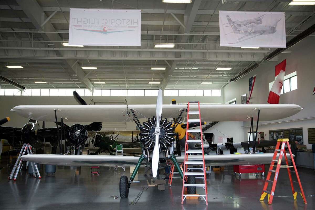 The Spirit of Artemis, Tracey Curtis-Taylor's 1942 Boeing Stearman is reassembled at the Historic Flight Foundation in Mukilteo, Friday, Mar. 18, 2016.