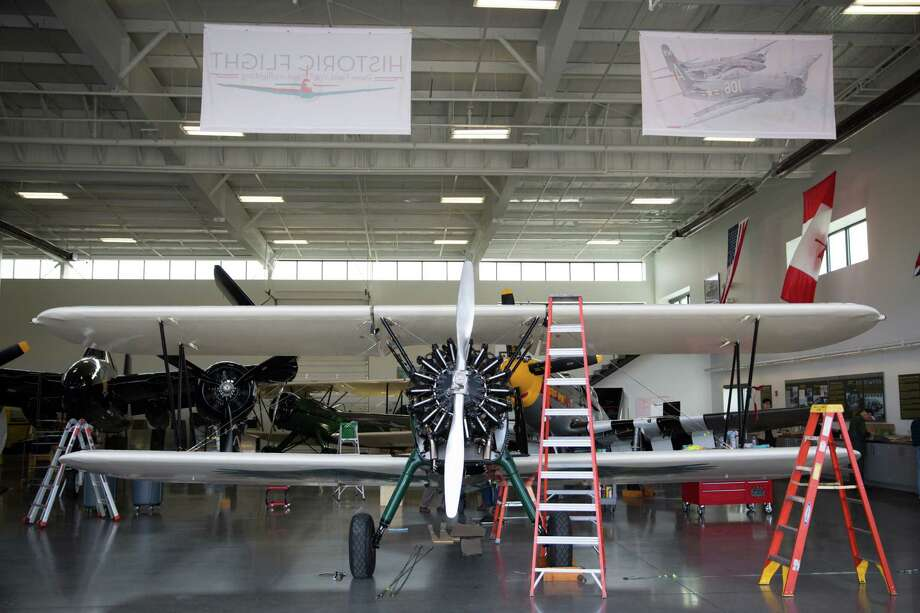 The Spirit of Artemis, Tracey Curtis-Taylor's 1942 Boeing Stearman is reassembled at the Historic Flight Foundation in Mukilteo, Friday, Mar. 18, 2016. Photo: GRANT HINDSLEY, SEATTLEPI.COM / SEATTLEPI.COM