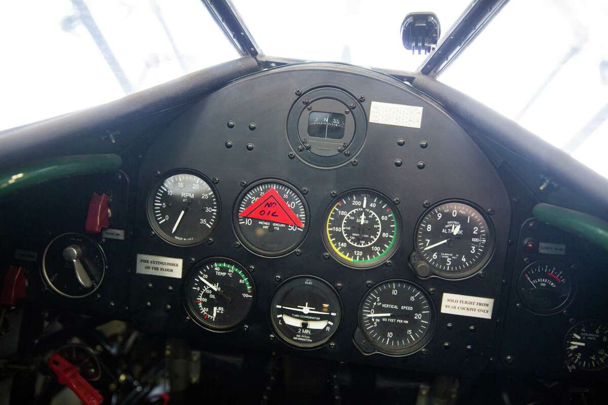 The rear cockpit of the the Spirit of Artemis, Tracey Curtis-Taylor's Boeing Stearman photographed at the Historic Flight Foundation in Mukilteo, Friday, Mar. 18, 2016.