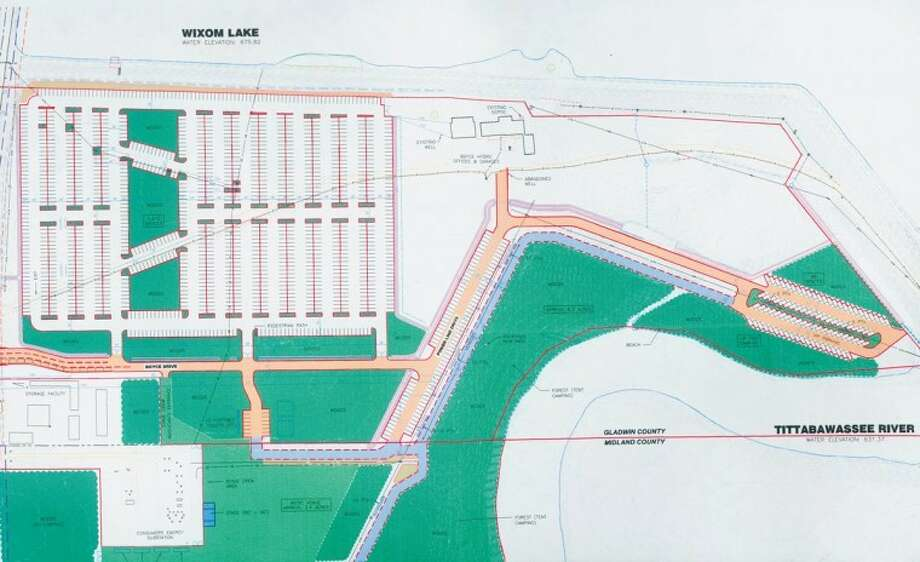 This is the site plan for the music festival facility and campground being built in Edenville Township in Midland County and Billings Township in Gladwin County. The facility will have parking for 1,500 cars, at the top left of the drawing. At the bottom of the drawing is the stage and at the right is a tent camping area. After the Aug. 16-19 concert, Lee Mueller, architect and co-member manager of Boyce Hydro LLC, which owns the property, is going to turn the area into a RV campground.
