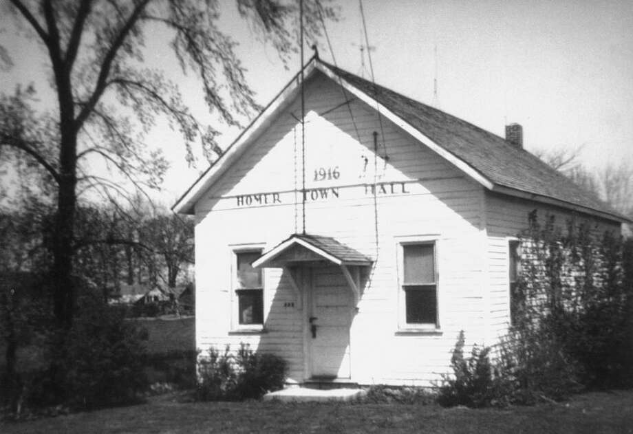 This is the first Homer Township Hall built in 1916. It was built on land donated by Andrew Allen on the corner of Homer and Chippewa River roads.
