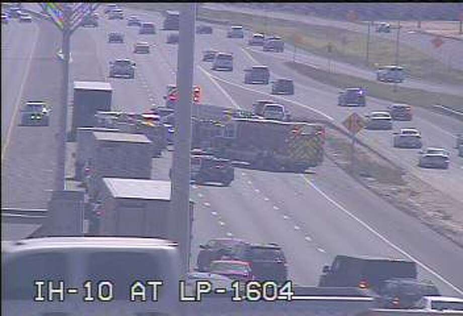 The eastbound lanes of Interstate 10 have been shut down due to a rollover crash on the Northwest Side, according to SAPD. Photo: Transguide