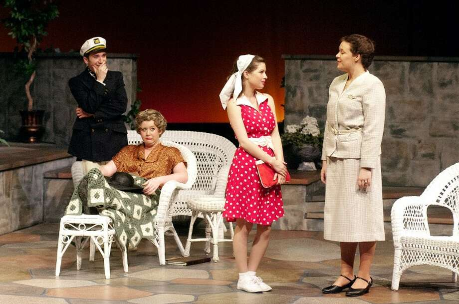 "STEVEN SIMPKINS/Daily News Michael Hasso as Linus Larrabee Jr., Morgan Voss as Gretchen and Emily Marinan as Maude Larrabee in the Midland Center for the Arts Interim Theatre production of ""Sabrina Fair."""