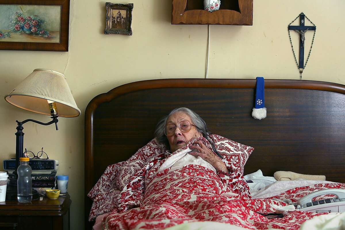 Marie Hatch, 97 years old, talks about how she's been since receiving her eviction notice in Burlingame, California, on Friday, February 26, 2016.