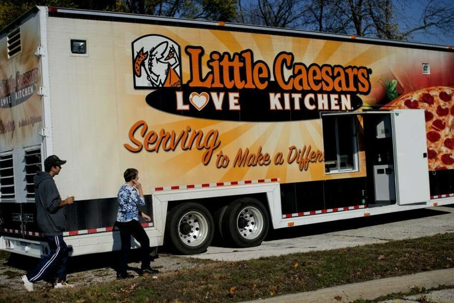 NICK KING | nking@mdn.netThe Little Caesars Love Kitchen, a mobile pizza kitchen, is shown at The Open Door ministries. Photo: Nick King/Midland  Daily News