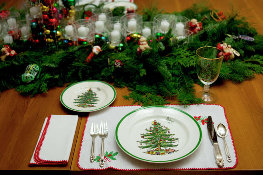 The dinner table at The Alden B. Dow Home and Studio is decorated for Christmas. Photo: Neil Blake/Midland  Daily News / Midland Daily News