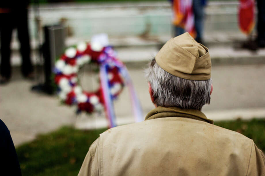 1st Lt. Dale Meier, of Midland, stands in silent formation at the 237th birthday of the U.S. Marine Corps outside the Midland County Courthouse on Saturday, November 10. Lt. Meier served in Okinawa, Japan, and China in World War II.
