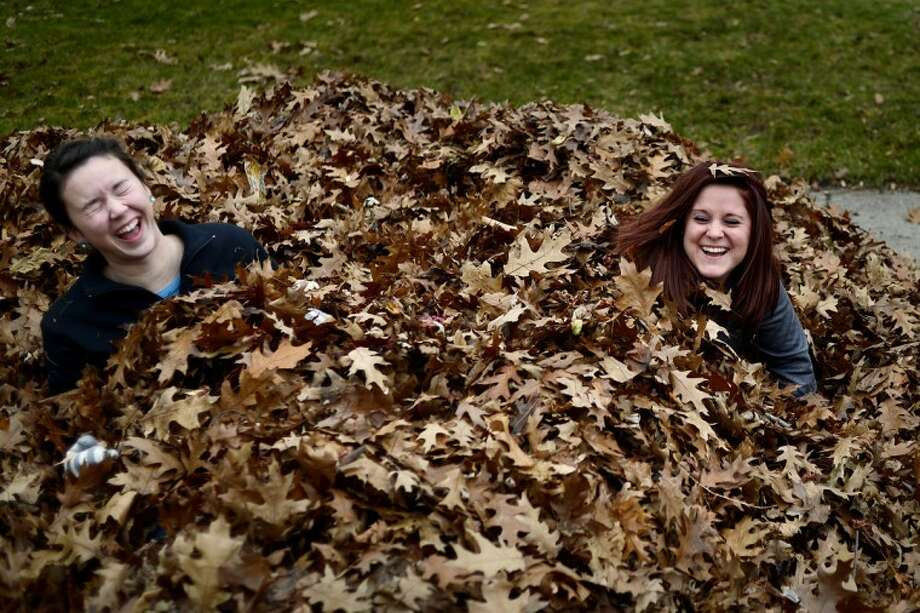 NICK KING | nking@mdn.netNorthwood sophomores Jordan Haidle, right, and Haley Chamberlain, left, laugh after jumping into a pile of leaves the two and six other student volunteers from the Alpha Gamma Delta sorority raked from homeowner Joan Foljahn's yard on Monday in Midland. Photo: Nick King