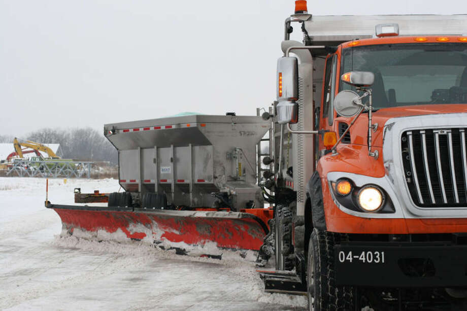 Hiliary Farrell | for the Daily NewsThe Tow Plow, a tandem-style plow attachment, debuts on Saginaw County's Interstate 75 this winter. Fitted to a standard plow truck, it can clear two lanes in one pass while providing efficiency and cost savings to Michigan Department of Transportation operations.
