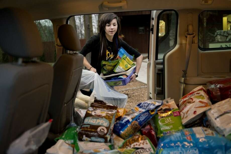 NICK KING | nking@mdn.netHigh School co-op Cassidy Anlas, a senior at Bullock Creek, loads a van full of pet supplies at the Animal Medical Center Monday in Midland. The center, Cassidy and her father Thomas organized a pet supply drive for the victims of Hurricane Sandy. Photo: Nick King/Midland  Daily News