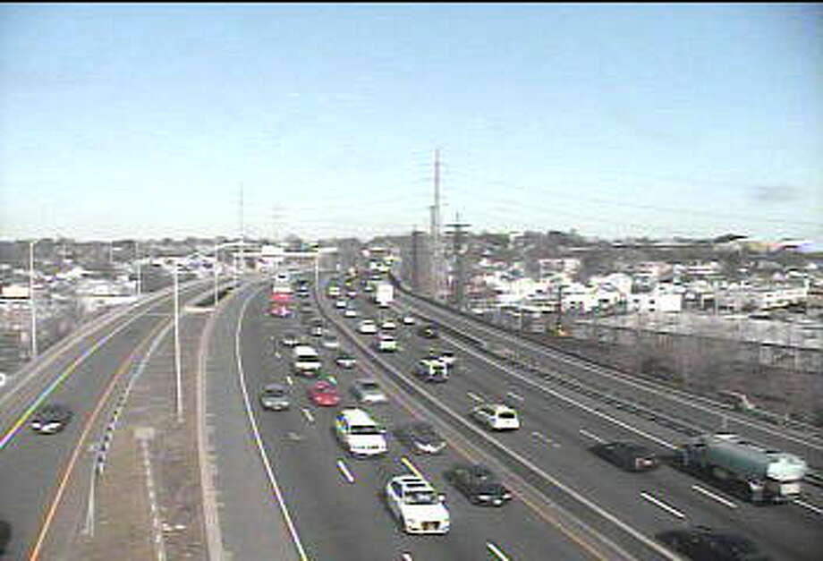 This traffic camera photo shows southbound traffic building up around Stamford. Photo: Contributed Photo / Department Of Transportation