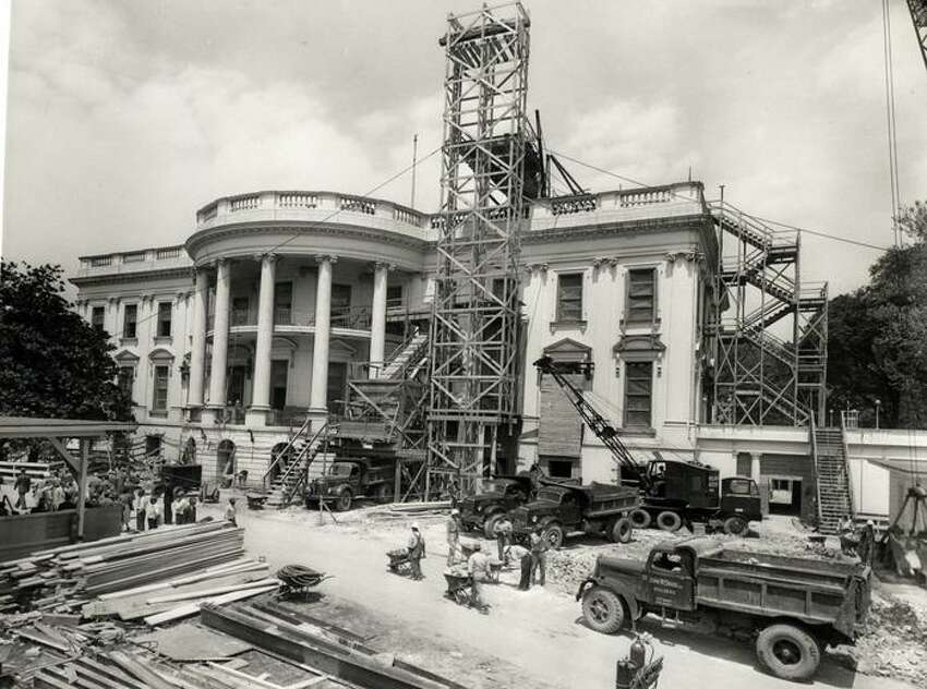 The White House was completely gutted during $5.4 million renovation project that took 22 months during President Truman's second term.