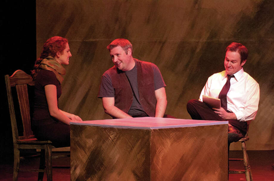 "STEVEN SIMPKINS/Daily News Megan Ellis as Barbara Pitts, Bill Anderson as Matt Mickelson and Daniel Kettler as Stephen Belber in the Midland Center for the Arts Off Center Stage production of ""The Laramie Project."""