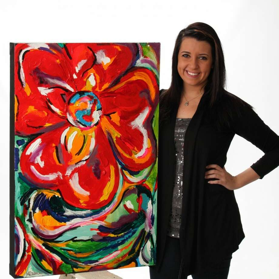 "Photo providedH.H. Dow High senior Megan Dambro is shown with her work titled ""Poppin' With Color."""