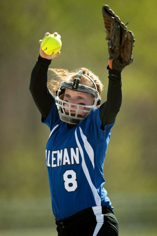 THOMAS SIMONETTI | tsimonetti@mdn.netColeman's Valarie Miller throws a pitch in the second inning of Game 1 of a double-header against Montabella on Monday. Photo: Thomas Simonetti