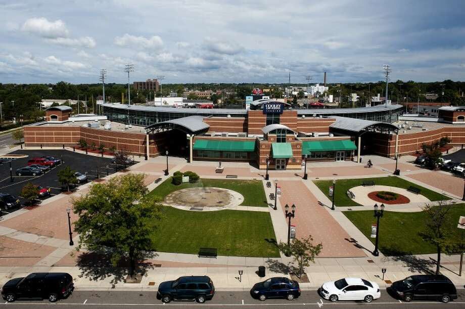 The view to the North from the Stadium District building is the Cooley Law School Stadium, home of the Lansing Lugnuts. The Gillespie Group announced a similar project in Midland across from Dow Diamond. Photo: NEIL BLAKE | Nblake@mdn.net