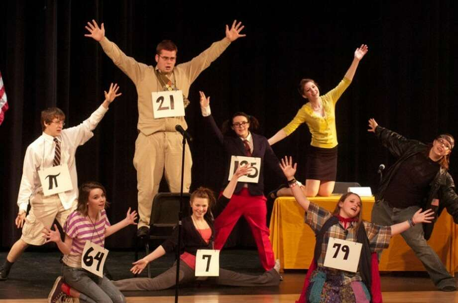 "STEVEN SIMPKINS/Daily News Chris Eidsmore as William Barfée, Lynn Loubert as Olive Ostrovsky, Wayne Johnson as Chip Tolentino, Elizabeth Grenesko as Marcy Park, Maggie Bruce as Logainne SchwartzandGrubenierre, Alaina Richard as Rona Peretti, Jaclyn Rosen as Lief Coneybear and Maddison Ribble as Michelle ""Mitch"" Mahoney in the Bullock Creek High School Drama production of ""Putnam County Spelling Bee."""