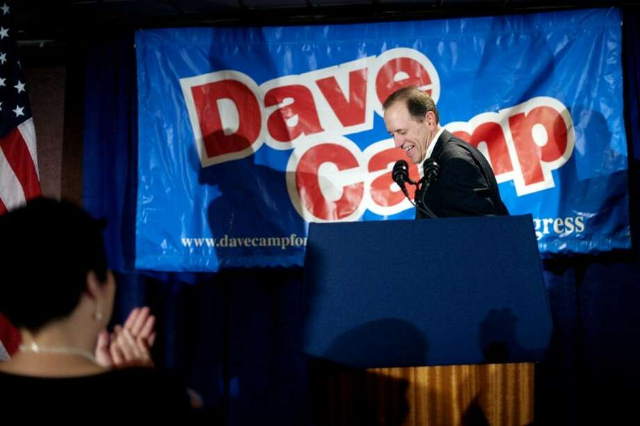 Congressman Dave Camp addresses a crowd at the Doherty Hotel in Clare at the annual 4th District Roundup. Photo: THOMAS SIMONETTI | Tsimonetti@mdn.net