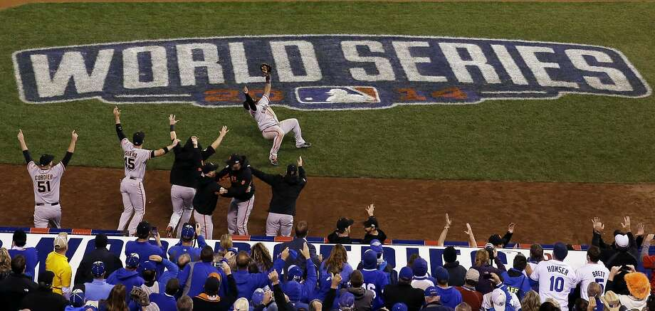 San Francisco Giants' Pablo Sandoval celebrates after catching the final out in the ninth inning of Game 7 of baseball's World Series against the Kansas City Royals Wednesday, Oct. 29, 2014, in Kansas City, Mo.  (AP Photo/David J. Phillip) Photo: David J. Phillip, Associated Press
