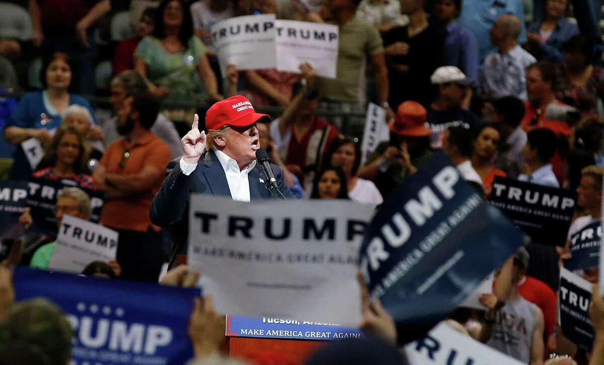 Donald Trump speaks during a campaign rally, March 19 in Tucson, Ariz.
