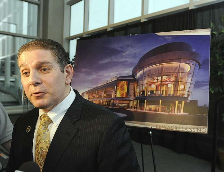 AP Photo | The State Journal | Greg DeRuiterLansing Mayor Virg Bernero talks about the benefits of a casino in downtown Lansing Monday at a news conference announcing plans to build Kewadin Lansing Casino. The $245 million American Indian casino in downtown Lansing could create about 2,200 jobs and help fund scholarships for area students. Photo: Greg DeRuiter