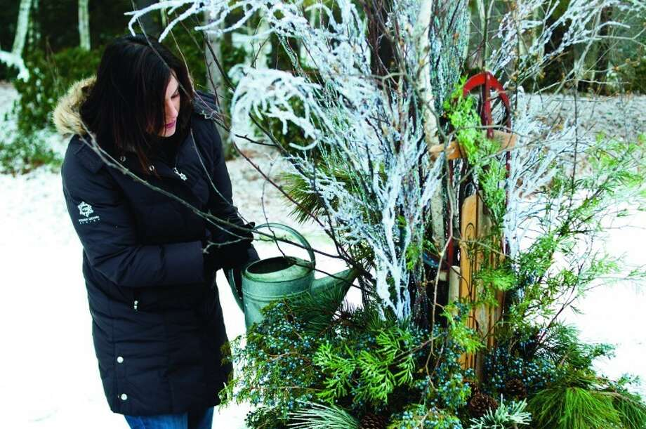 NEIL BLAKE | nblake@mdn.netCity Horticulturist Stephanie Szostak waters a container to freeze in the elements. She designed the container garden, which is part of an exhibit in Dow Gardens. Photo: Neil Blake