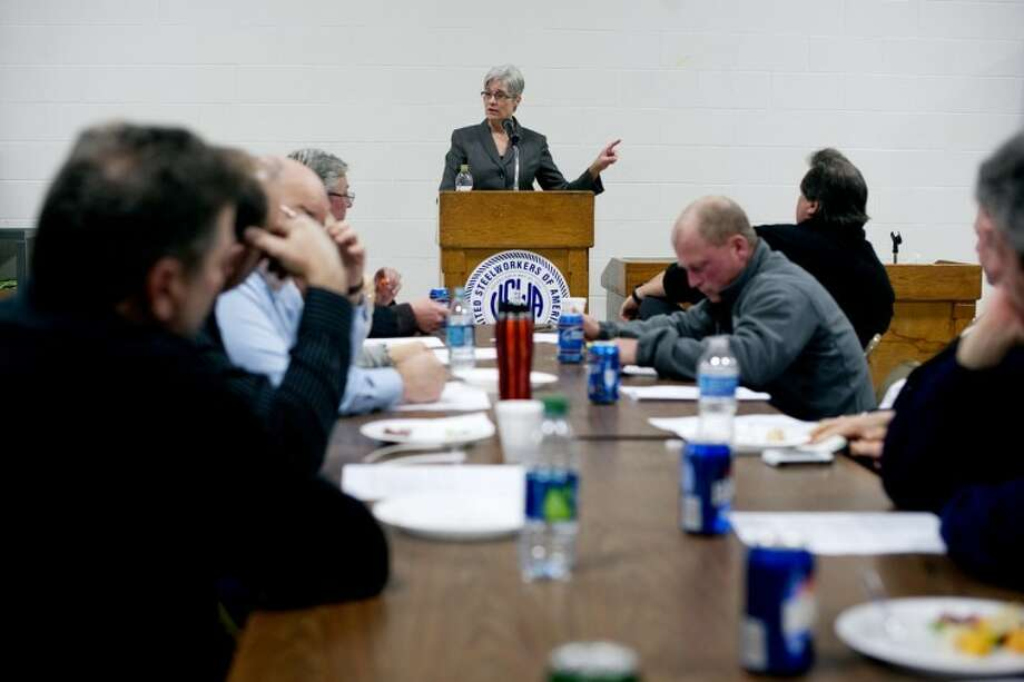 THOMAS SIMONETTI | tsimonetti@mdn.netCarla Swift, the first female president of the state AFL-CIO, speaks in Midland on Wednesday to local union members. Photo: Thomas Simonetti